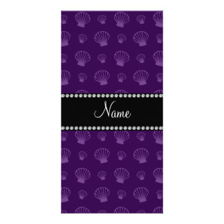 Personalized name purple shells customized photo card