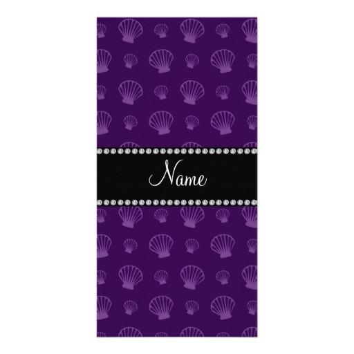 Personalized name purple shells customized photo card