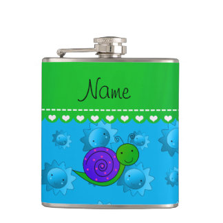 Personalized name purple snail sky blue suns hip flask