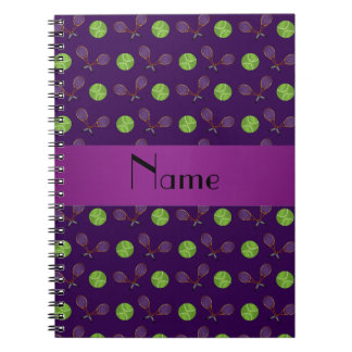 Personalized name purple tennis balls notebook