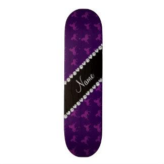 Personalized name purple unicorn pattern skateboard deck