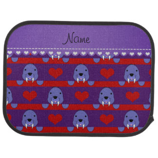 Personalized name purple walrus red hearts stripes auto mat