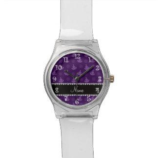 Personalized name purple yoga pattern wrist watch