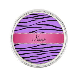 Personalized name purple zebra stripes pink stripe lapel pin