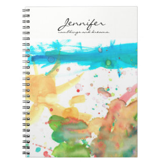 Personalized Name, quote, water paint design Note Book