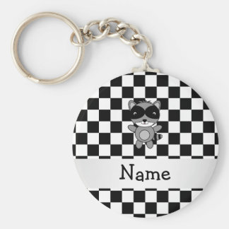 Personalized name raccoon black white checkers basic round button keychain