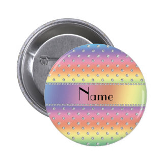 Personalized name rainbow diamonds 2 inch round button