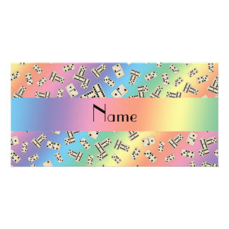 Personalized name rainbow dominos personalized photo card