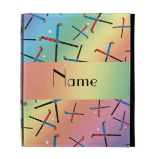 Personalized name rainbow field hockey pattern iPad cases