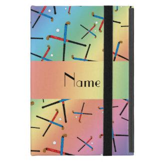 Personalized name rainbow field hockey pattern case for iPad mini