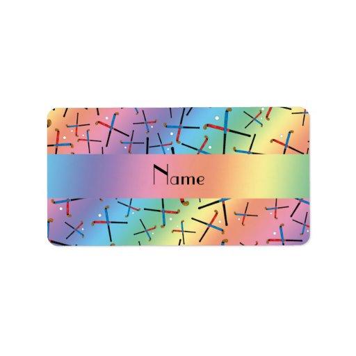 Personalized name rainbow field hockey pattern custom address labels