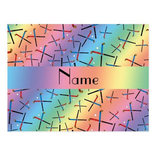 Personalized name rainbow field hockey pattern postcards