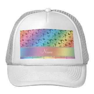 Personalized name rainbow figure skating mesh hats