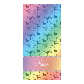 Personalized name rainbow figure skating picture card
