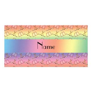Personalized name rainbow hockey pattern photo greeting card