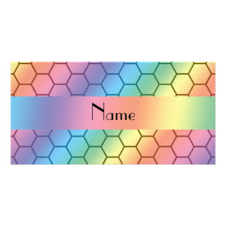 Personalized name rainbow honeycomb photo cards