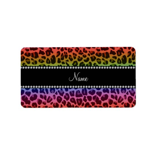 Personalized name rainbow leopard pattern label