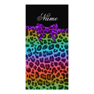 Personalized name rainbow leopard print purple bow photo greeting card