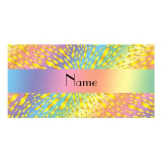 Personalized name rainbow lightning bolts custom photo card