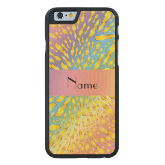 Personalized name rainbow lightning bolts carved® maple iPhone 6 slim case