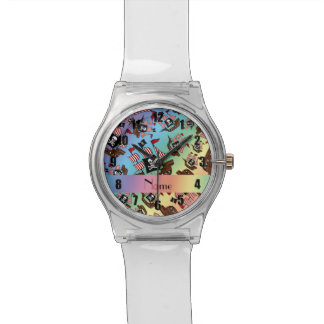 Personalized name rainbow pirate ships wristwatch