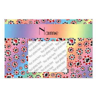 Personalized name rainbow poker chips photo