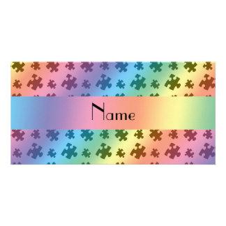 Personalized name rainbow puzzle customized photo card