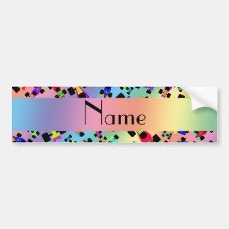 Personalized name rainbow race car pattern bumper sticker