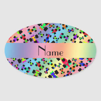Personalized name rainbow race car pattern oval sticker