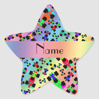 Personalized name rainbow race car pattern star sticker