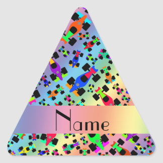 Personalized name rainbow race car pattern triangle sticker