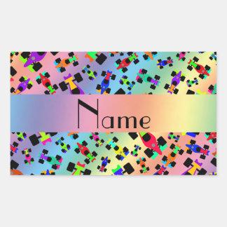 Personalized name rainbow race car pattern rectangular sticker