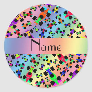 Personalized name rainbow race car pattern round sticker