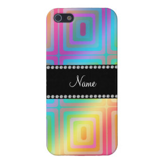 Personalized name rainbow retro colorful squares iPhone 5 cases
