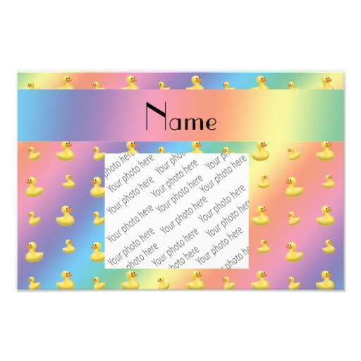 Personalized name rainbow rubber duck pattern photograph