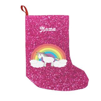 Personalized name rainbow unicorn hot pink glitter small christmas stocking