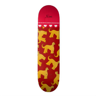 Personalized name red afghan hound dogs skateboards