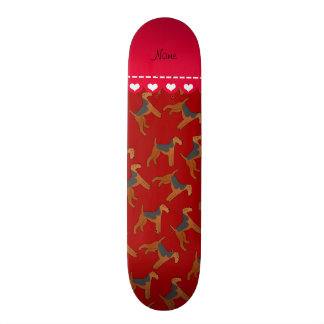 Personalized name red airedale terriers dogs custom skateboard