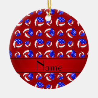Personalized name red american volleyballs ceramic ornament