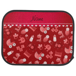 Personalized name red baby animals car floor carpet