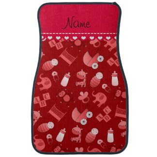 Personalized name red baby animals car liners