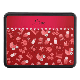 Personalized name red baby animals hitch cover