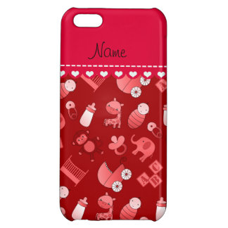 Personalized name red baby animals iPhone 5C cover