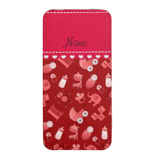 Personalized name red baby animals iPhone pouch