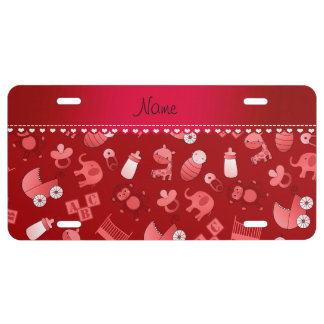 Personalized name red baby animals license plate