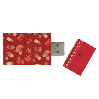 Personalized name red baby animals wood USB 2.0 flash drive