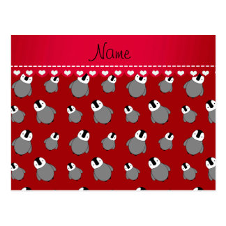 Personalized name red baby penguins postcard