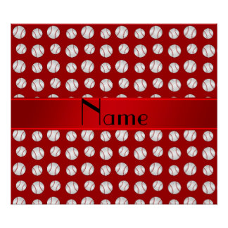 Personalized name red baseballs pattern poster