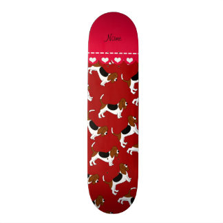 Personalized name red basset hound dogs custom skateboard