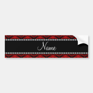Personalized name Red black damask Bumper Stickers
